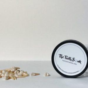 Jar with teeth on counter thetoothbank